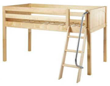 Maxtrix Bare Bone Twin Size Low Loft (Low/Low) Panel Bed with Angle Ladder in Natural EASY RIDERNP