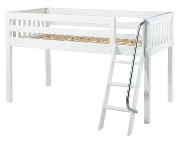 Maxtrix Bare Bone Twin Size Low Loft (Low/Low) Slat Bed with Angle Ladder in White EASY RIDERWS