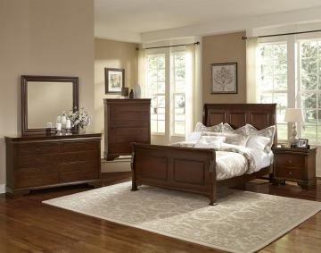 All-American French Market 4pc Sleigh Bedroom Set in French Cherry