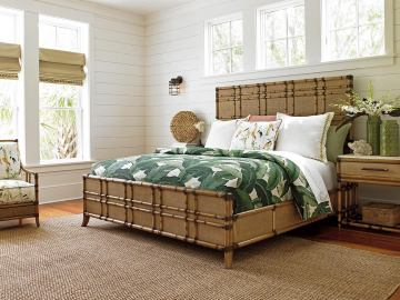 Tommy Bahama Home 4pc Twin Palms Coco Bay Panel Bed in Medium Umber