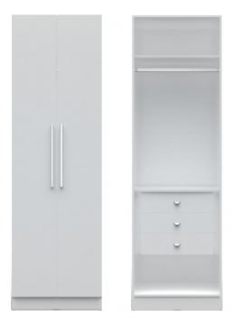 Manhattan Comfort  Chelsea Basic Wardrobe Closet with 3 Drawers and 2 Doors in White 2-116552118152