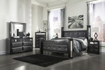 Ashley Alamadyre Queen Upholstered Poster Bedroom Set in Black