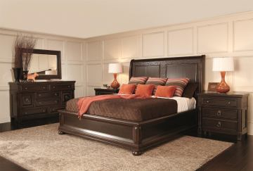 Bernhardt Pacific Canyon Sleigh Bedroom Set in Coffee Bean