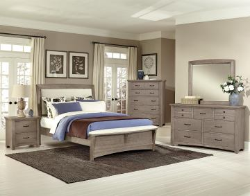 All-American Evolution 4 Piece Upholstered Bedroom Set, Base Cloth Linen in Driftwood Oak