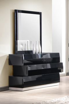 J&M Milan Dresser and Mirror in Black Lacquer 176871-DM