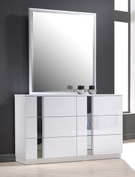 J&M Palermo Dresser and Mirror in White Lacquer and Chrome 17853-DM