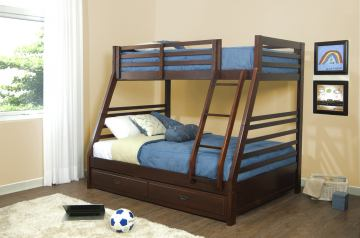 Hillsdale Furniture Bailey Twin/Full Bunk Bed with Trundle Drawer in Mission Oak