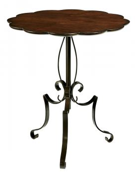 Fine Furniture Harbor Springs Scalloped Metal and Wood Table in Port 1370-972