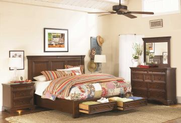 Aspenhome Richmond Panel Storage Bedroom Set in Charleston Brown