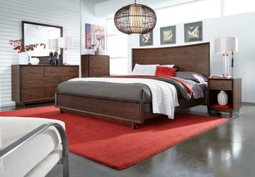 Aspenhome Walnut Heights Panel Bedroom Set in Warm Tobacco IWH-415SET
