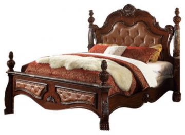 Meridian Luxor King Leather Poster Bed in Cherry
