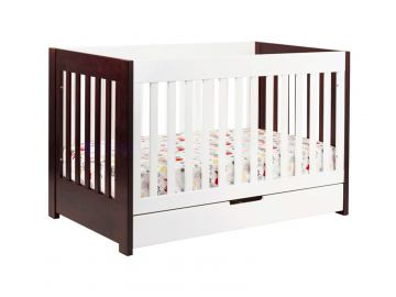 Babyletto Mercer 3-in-1 Convertible Crib with Toddler Rail in Espresso/White M6801QW