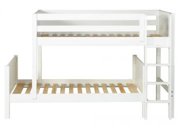 Maxtrix Bare Bone Twin Size Parallel and L-Shaped Bunk (4 x Low) Panel Bed with Straight Ladder in White MISHWP