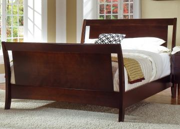 Ligna Port Queen Sleigh Bed in Rose Brown