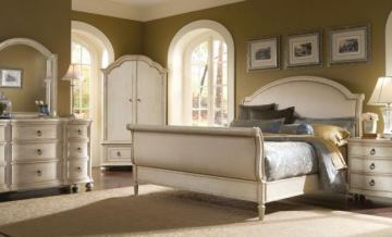 A.R.T. Provenance Sleigh Bedroom Set in Distressed Ivory