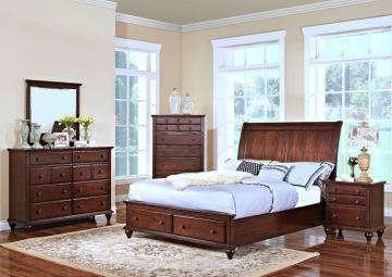 New Classic Spring Creek Sleigh Storage Bedroom Set in Tobacco