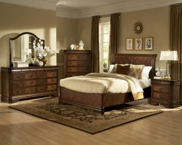 New Classic Sheridan Sleigh Bed Set in Burnished Cherry Finish 00-005