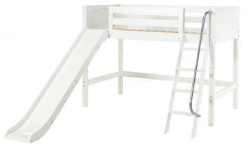 Maxtrix Bare Bone Mid Loft (Low/Low) Panel Bedroom Set in White (Angle Ladder and Slide)