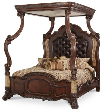 AICO Victoria Palace King Canopy Bed in Light Espresso
