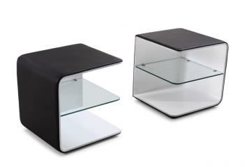 J&M Wave Nightstand in Black and White 17836-NS