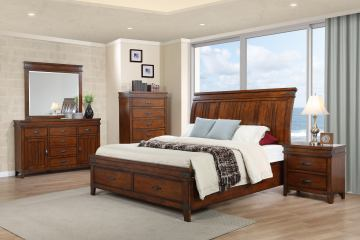 New Classic Saratoga 4pc Sleigh Storage Bed in Caramel