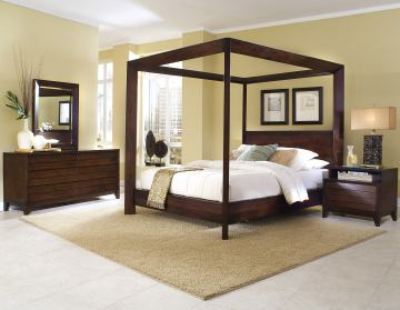 Ligna Canali 4 Piece Poster Canopy Bedroom Set in Mocha