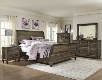 Magnussen Calistoga 4-Piece Sleigh Bedroom Set in Weathered Charcoal