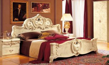 ESF Furniture Barocco Queen Leather Panel Bed in Ivory