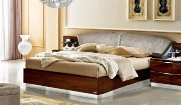 ESF Furniture Onda King Platform Bed in Walnut