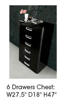 ESF Furniture La Star 6 Drawer Chest in Black