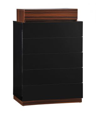 Global Furniture Lexi 5 Drawer Chest in Black/Wenge