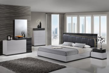 Global Furniture Lexi 4-Piece Upholstered Bedroom Set in Silver/Gray