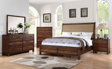 New Classic Furniture Remington 4-Piece Panel with Storage Bedroom Set in Distressed Gunstock