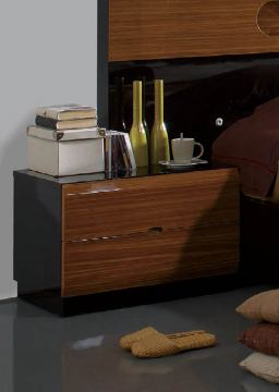 ESF Furniture Sal 2 Drawer Nightstand in Black/ Walnut