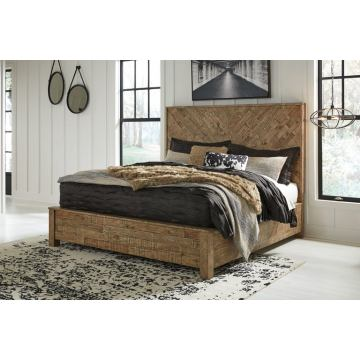 Grindleburg Queen Panel Bed in Light Brown