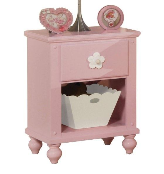 Acme Floresville Nightstand in Pink with White Basket 00739