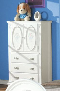 Acme Flora TV Armoire in White 01667