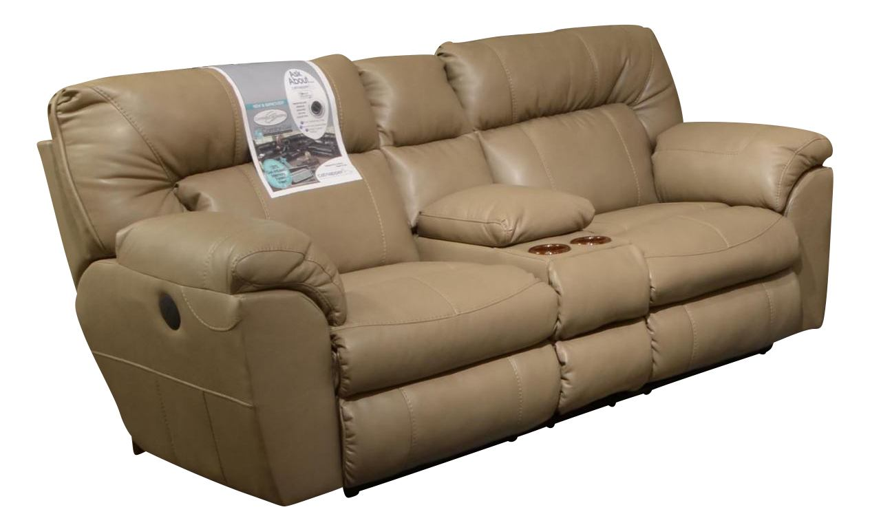 Catnapper Nolan Extra Wide Reclining Console Loveseat w/ Storage & Cupholder in Putty