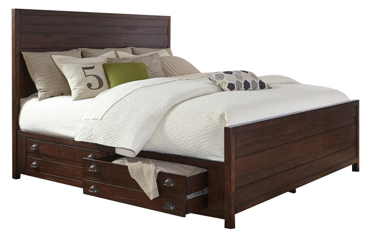 Coaster Donny Osmond Home Lanchester Eastern King Panel Storage Bed in Acacia Cocoa 204290KE