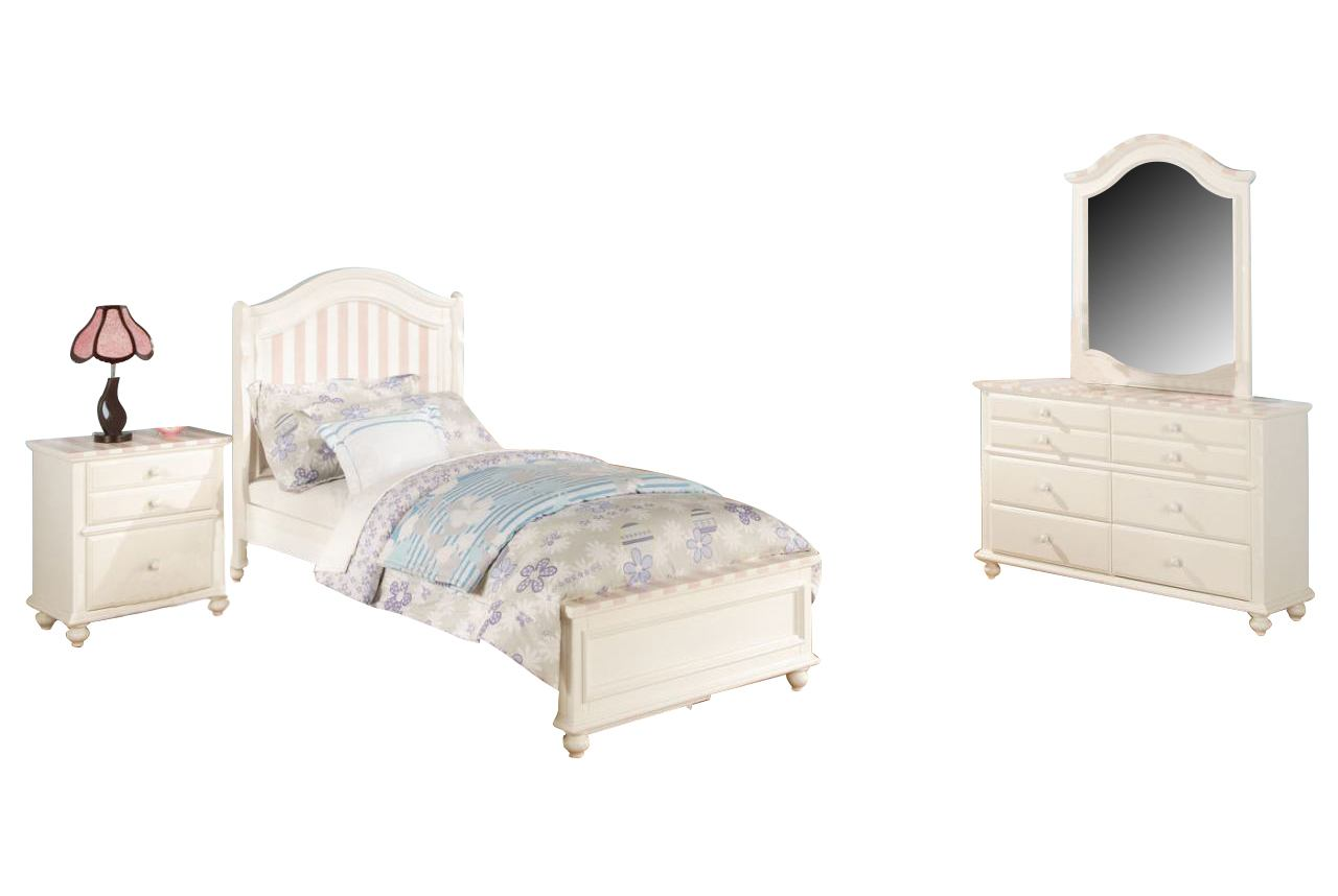 Acme Zoe Panel Bedroom Set in White with Pink Striped Details