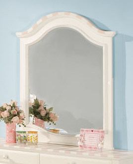 Acme Zoe Mirror in White with Pink Striped Details 11040