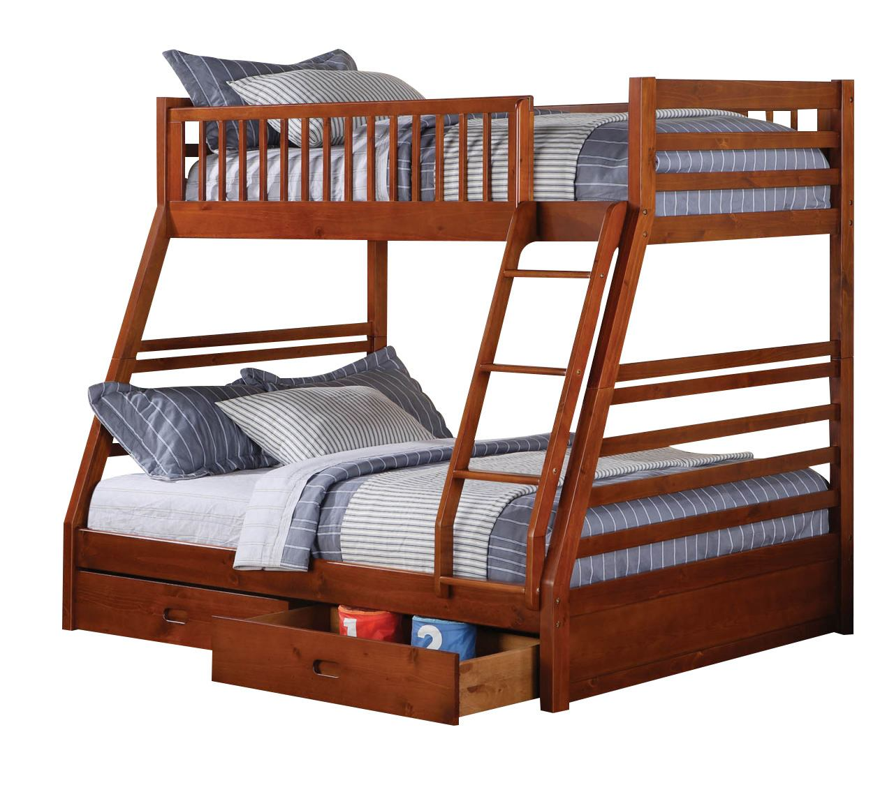 Coaster Youth Twin/Full Bunk Bed in Brown Oak 460183
