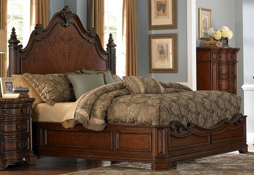 Homelegance Montvail Queen Mansion Bed in Rich Warm Cherry 2105-1