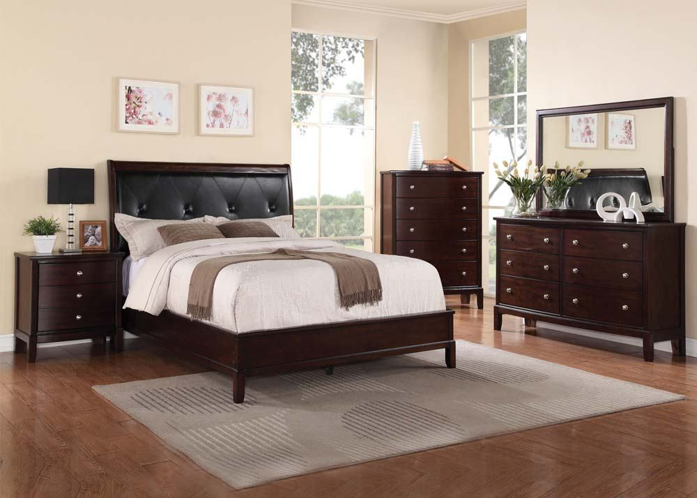 Acme Furniture Efraim 4 Piece Upholstered Panel Bedroom Set in Espresso