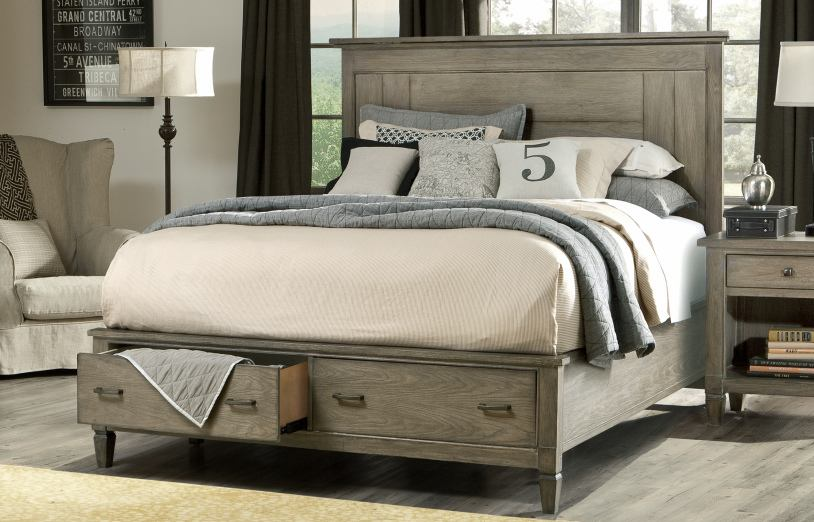Legacy Classic Brownstone Village California King Panel Bed with Storage Footboard 2760-4107SK