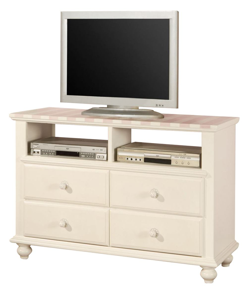 Acme Zoe TV Console in White with Pink Striped Details 11043