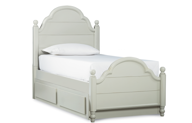 Legacy Classic Kids Inspirations Twin Westport Low Poster Bed with Trundle/Storage Drawer in Morning Mist 3830 CODE:UNIV20 for 20% Off