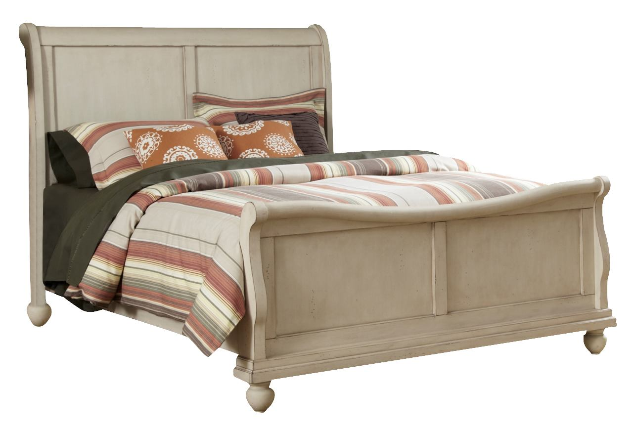 Liberty Furniture Rustic Traditions Queen Sleigh Bed in Rustic White 689-BR-QSL