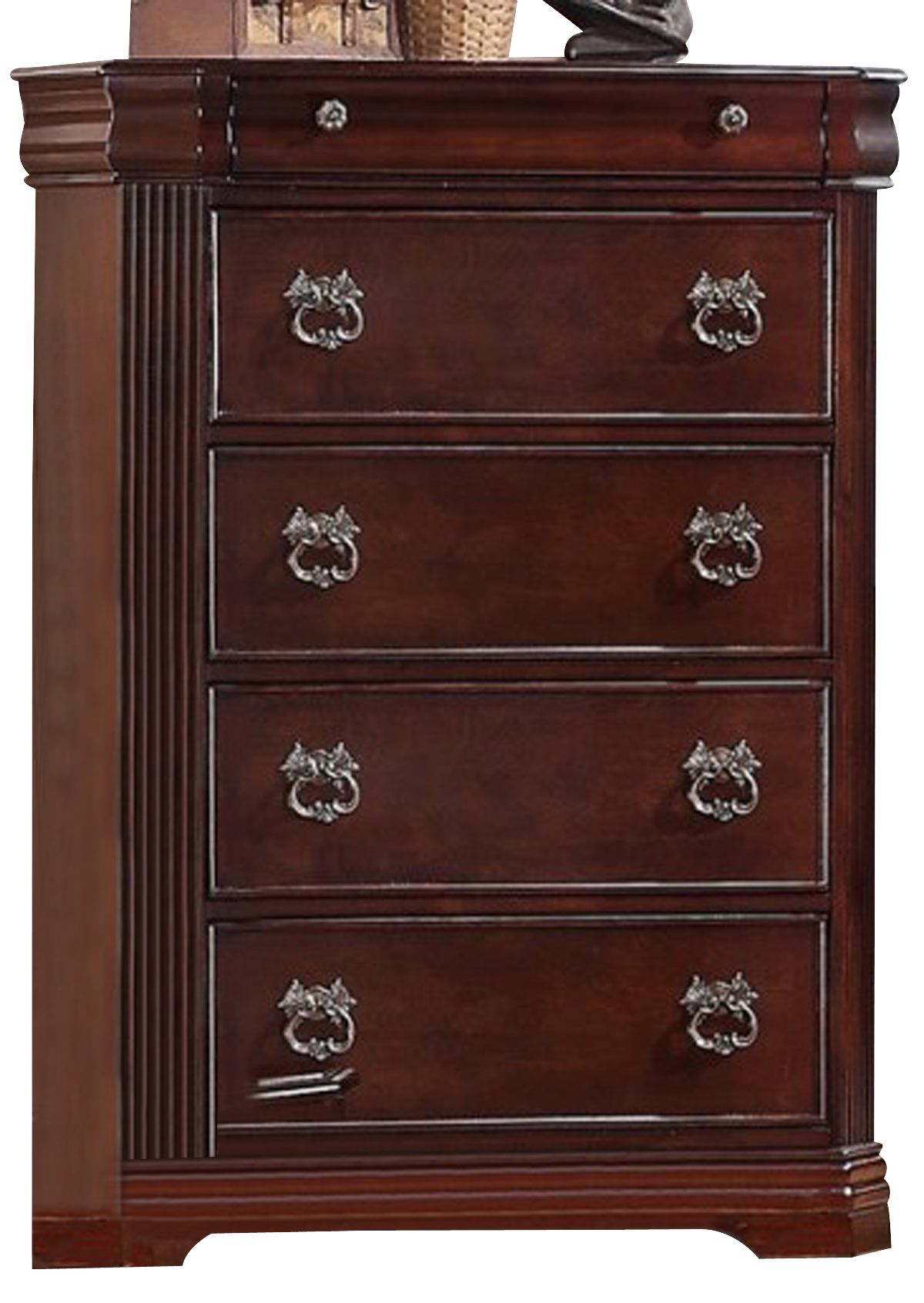Crown Mark Furniture Samantha Drawer Chest in Warm Cherry B8460-4