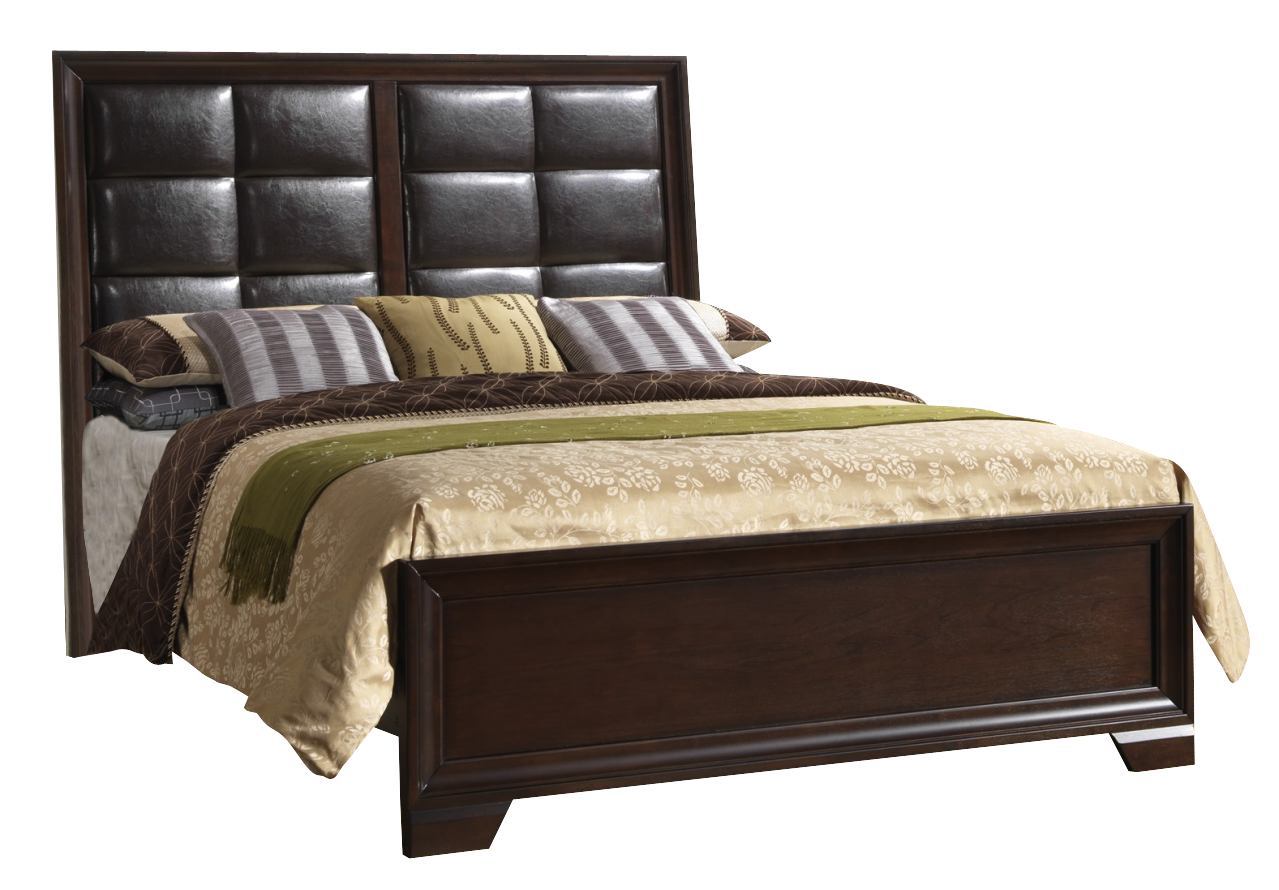 Crown Mark Furniture Jacob Upholstered King Bed in Rich Brown